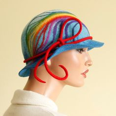 Rainbow hat Felted hat blue felt hat multicolor hat decorated merino wool hat boho hippie