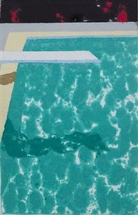 Green Pool with Diving Board and Shadow by David Hockney