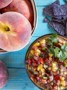 With summertime comes great summer produce! Check out our latest picks for this month's fruit and veggie: Peaches and corn. Great Recipes, Healthy Recipes, Peach Salsa, Meal Prep, Food Prep, Peaches, Bon Appetit, Food To Make, Yummy Food