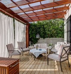There are a plenty of pergola rain cover ideas, built with different materials. The Pergola Gazebo Canopy Covers are really effective to save you from rain and sun light while sitting under your outdoor living room. You may have pergola fabric rain c Deck With Pergola, Outdoor Pergola, Wooden Pergola, Covered Pergola, Patio Roof, Backyard Patio, Outdoor Spaces, Outdoor Living, Pergola Lighting
