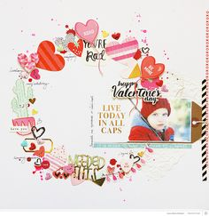 Live today in all caps! by aniamaria at Studio Calico Love Scrapbook, Scrapbook Sketches, Scrapbooking Layouts, Scrapbook Cards, Yearbook Covers, Yearbook Layouts, Yearbook Design, Yearbook Theme, Yearbook Spreads