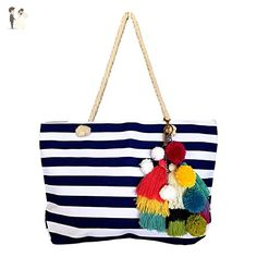 Colorful Striped Pom Pom Tassel Tote Beach Bag - Bridal handbags (*Amazon Partner-Link)