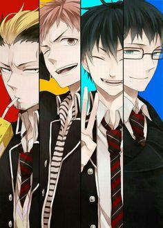 Blue Exorcist ~~ Unstoppable friends :: Bon, Shima, Rin, & Yukio