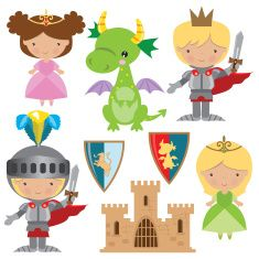 Medieval knight, princess and dragon vector illustration Dragon Kid, Dragon Party, Fairy Tale Theme, Fairy Tales, Dragon Nursery, Princess Illustration, Castle Party, Medieval Party, Knight Party
