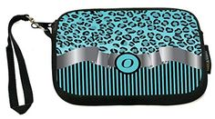 "UKBK Letter ""B"" Initial Sky Blue Leopard Print and Stripes Monogrammed - Neoprene Clutch Wristlet with Safety Closure - Ideal case for Camera, Cell Ph Letter J, Cosmetic Case, Saddle Bags, Initials, Wristlets, Safety, Ph, Monogram, Stripes"