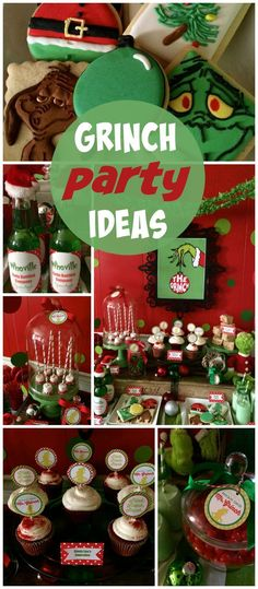 A Merry Grinchmas holiday treat table with cupcakes, red chocolate dipped marshmallows and Seuss soda!