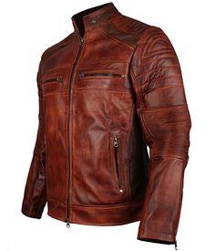 """Men's Vintage Cafe Racer Brown Biker Leather Jacket (XL - to fit chest 46-47"""")"""