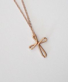 Cross Necklace Rose Gold Continuous Love Celtic Cross Knot Religious Jewelry Baptism First Communion Gift