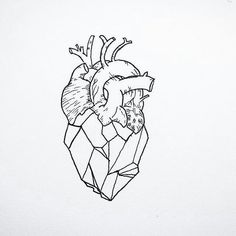 gráfico de corazón. Geometric anatomical heart doodle.