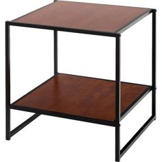 The Square Side Table can function as a night stand, end or side table, coffee table or to hold various items in any room of the home. With an additional lower shelf, storage space is maximized. The sturdy, black square steel tubing and high density panel with rich brown wood grain finish will add an elegant touch to any décor. Easy to assemble. Worry free limited 1 year warranty.