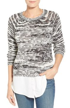 kensie Layered Look Crewneck Sweater