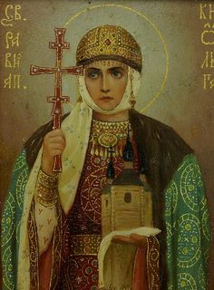 Saint Olga of Kiev Century CE): Buried opponents alive, killed invaders using pigeons to commit arson. Religious Images, Religious Icons, Religious Art, Russian Icons, Russian Art, Olga Of Kiev, Russian Orthodox, Art Icon, Orthodox Icons
