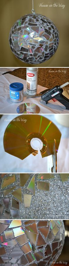 Disco-ball DIY con CDs reciclados / http://www.houseontheway.com/