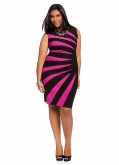 Ashley Stewart Women's Plus Size Sunburst Color Block Sheath Dress $30.61
