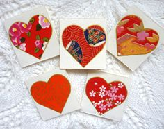 colourful red hearts cards set of 5 Blank Mini by shelikesthis