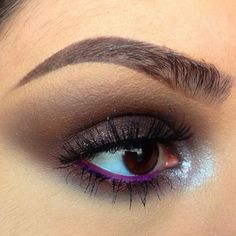Shimmery smokey eye using @NYX Cosmetics Roll On Shimmer in Chestnut all over and Platinum on the inner corner.  Lashes are @House of Lashes in Siren  Brows are @anastasiabeverlyhills Brow Wiz in Brunette and Clear Brow Gel