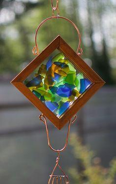 Colorful Wind Chime Glass Copper Cedar Handcrafted Suncatcher