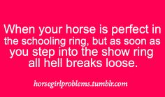 no my pony doesn't even make it IN the ring. the gate will kill him apparently.