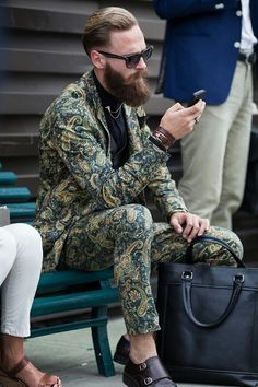 Dark Navy and Green Paisley Suit, with Monk Strap Shoes, @ Pitti Uomo. Men's Spring Summer Fashion.