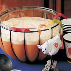Fall Orange Punch Recipe- use it for Halloween or Thanksgiving- easy recipe of 1 gallon orange sherbet, softened  1 quarts pineapple juice, chilled  1 liter lemon-lime soda, chilled  (Gummy worms if using for Halloween)