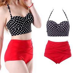 Retro Pinup Rockabilly Dot Sexy High Waist Push Up 2 PC Bikini Swimming Suit S-XL