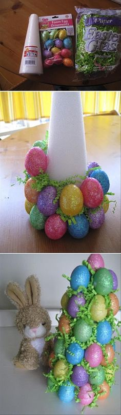 Easter party ideas for kids easter tree table decoration or easter centerpiece - DIY craft decoratio Easter Tree, Easter Wreaths, Spring Wreaths, Spring Crafts, Holiday Crafts, Holiday Pics, Christmas Holiday, Easter Crafts For Adults, Kids Crafts