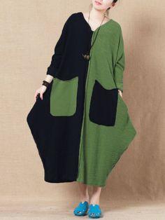 Gracila Contrast Color Vintage Dresses