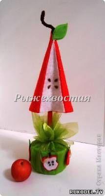 Елочка топиарий из фетра, своими руками - Новый год - Подарки к праздникам - Каталог статей - Рукодел.TV