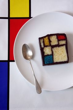 Saw this Mondrian cake on a cooking show, it's apparently quite famous and delicious. ganache with slices of sheet cake.