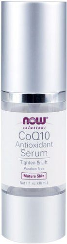 NOW Foods CoQ10 Antioxidant Serum, Age-Defying Serum, 1-Fluid Ounce by Now Foods. $11.95. Tighten and Lift. Paraben and Gluten Free. Mature Skin. Condition:  Skin in need of extra repair, especially around eyes, mouth and forehead where there is a loss of elasticity.  Solution: CoQ10 Antioxidant Serum contains a concentrated 1% CoQ10 to naturally repair damage and flaws in the skin.. Save 40%!