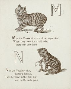 "Letters ""M"" - ""N"" (from ""Cats and kittens ABC"", Father Tuck's Nursery Tales series, 1890s)"