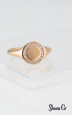 Give a personalized gift with this stunning ring. This ring is crafted of quality rose gold and beautifully showcases 20 pavé-set brilliant round diamonds and can be engraved for a customized touch. This shimmering engravable ring measures at its widest. Diamond Cluster Engagement Ring, Shop Engagement Rings, Delicate Rings, Unique Rings, Heart Shaped Diamond Ring, Engraved Rings, Signet Ring, White Gold Rings, Fashion Rings