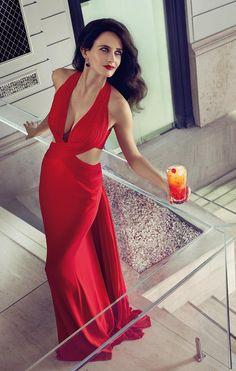 Eva Green elegant red halter dress cleavage