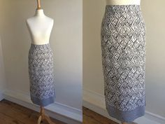 1980s Grey and White Linen Midi Skirt   Size by HappyRedUK on Etsy