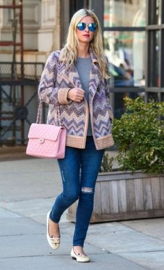 Nicky Hilton wearing Chanel Pink Caviar Jumbo Classic Flap Bag, Frame Le Skinny De Jeanne in Runyon Canyon and Charlotte Olympia Pretty Kitty Velvet Slipper