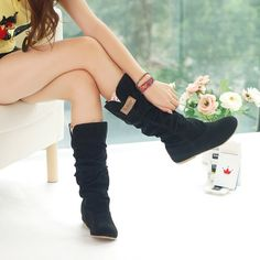2016 Plus Size 35 42 Spring/Autumn hidden wedge Flock boots Fashion Flat Mid calf women boots casual shoes sweet lace snow boots-in Women's Boots from Shoes on Aliexpress.com | Alibaba Group