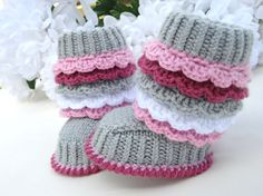 Crochet Pattern Baby Knitting Pattern Newborn Girl Baby Shoes Pattern Baby Booties Knitted Baby Uggs Knitted Baby Booties Pattern (PDF file)
