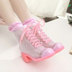 Sweet candy color transparent high-heeled boots from Women Fashion - Shoes - Heels Pastel Goth Fashion, Kawaii Fashion, Pink Fashion, Cute Fashion, Fashion Shoes, Color Fashion, Pink Shoes, Girls Shoes, Shoes Heels