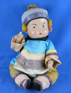 """8"""" Rare Vintage Composition Chinese Ming Ming baby doll - Original outfit from sensational on Ruby Lane"""