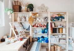 Studio Tour — Hello Hydrangea Home Office, Office Workspace, Industrial Workspace, Garage Office, Diy Macrame Wall Hanging, Home Studio, Studio Spaces, Dream Studio, Studio Organization