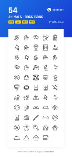 Animals - Dogs  Icon Pack - 54 Line Icons