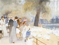 Yoshio Markino (1874-1956) - In the Park