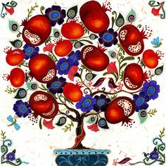 """""""Pomegranate Topiary"""" by Karla Gudeon available at the R. Michelson Galleries."""