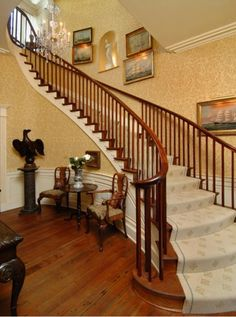 And you're greeted by the sweeping staircase.