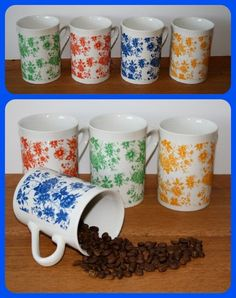 SET OF 4 COUNTRY COTTAGE FLORAL MUGS Coffee Cups Tea Shabby Chic Blue Green Red in Home, Furniture & DIY, Cookware, Dining & Bar, Tableware, Serving & Linen | eBay