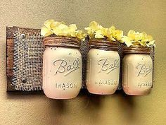 Mason Jar Wall Decor , Farmhouse Decor , Country Decor , Rustic Decor…