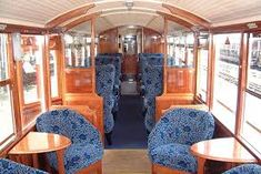 Interior of Ffestiniog Railway first class observation carriage Train Car, Train Travel, Car Bedroom, Steam Locomotive, Bean Bag Chair, Coaches, Photo Galleries, Trains, Welsh