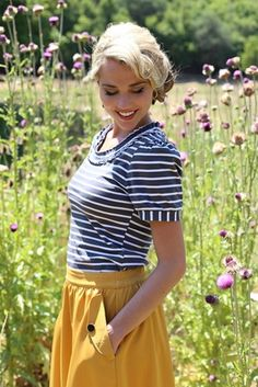 You will LOVE this fun top--classic color combo & fun feminine details like the ruffled neckline and puffed sleeves!  Love My Collar Top in Gray/White Stripes