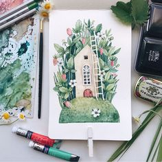Art And Illustration, Watercolor Illustration, Watercolour Painting, Painting & Drawing, Painting Inspiration, Art Inspo, Guache, Cute Drawings, Illustrators