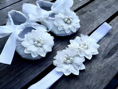 Ivory Baby Girl Crib Shoes/Set for Christenings, Baptisms, Weddings and other special occasions, Ivory Dress Shoes, Ivory Soft Crib Shoes